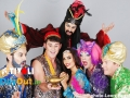 Brian-Dowling-as-the-Genie,-Donal-Brennan-as-Aladdin,-Nadia-Forde-as-Princess-Jasmine,-Rob-Murphy-as-Buffy,-Alan-Hughes-as-Sammy-Sausages-(and-in-back-row-Carl-Stallwood-as-Abbanazar)-photo-by-Leon-Farrell